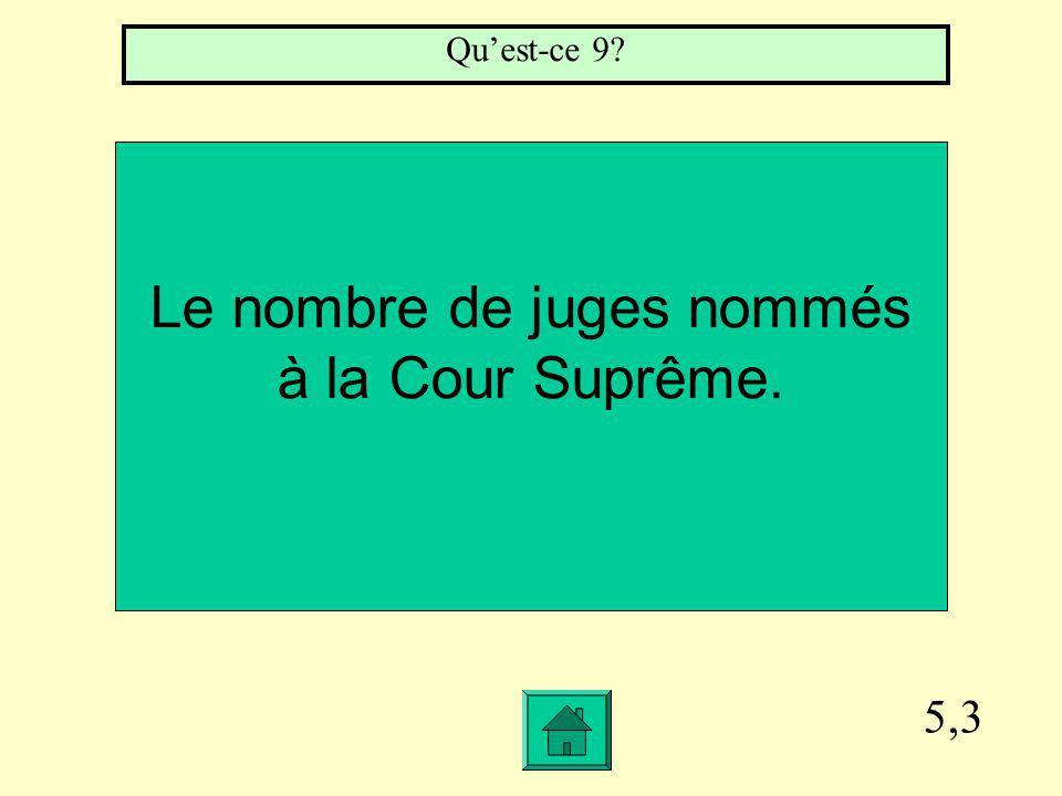 5,3 Le nombre de juges nommés à la Cour Suprême. Quest-ce 9