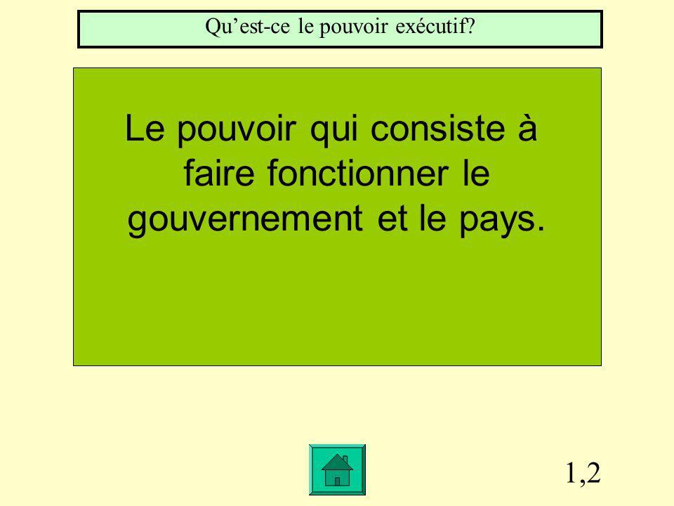 1,2 Le pouvoir qui consiste à faire fonctionner le gouvernement et le pays.