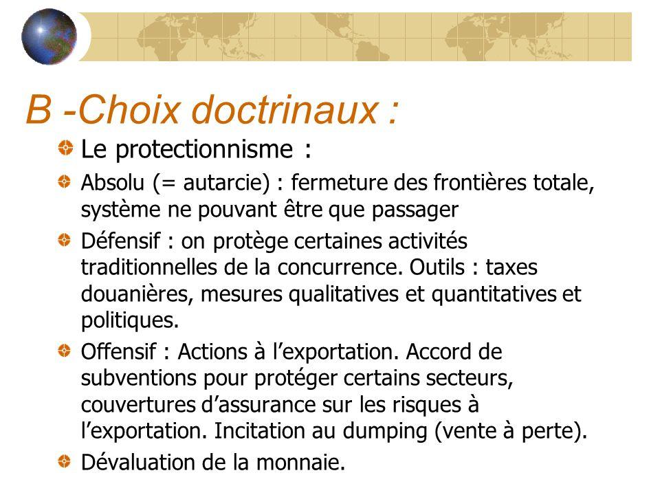B -Choix doctrinaux : Le protectionnisme : Absolu (= autarcie) : fermeture des frontières totale, système ne pouvant être que passager Défensif : on p
