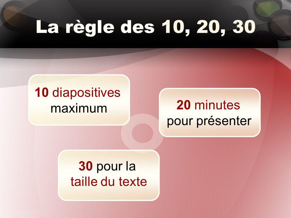 La règle des 10, 20, 30 10 diapositives maximum 20 minutes pour présenter 30 pour la taille du texte