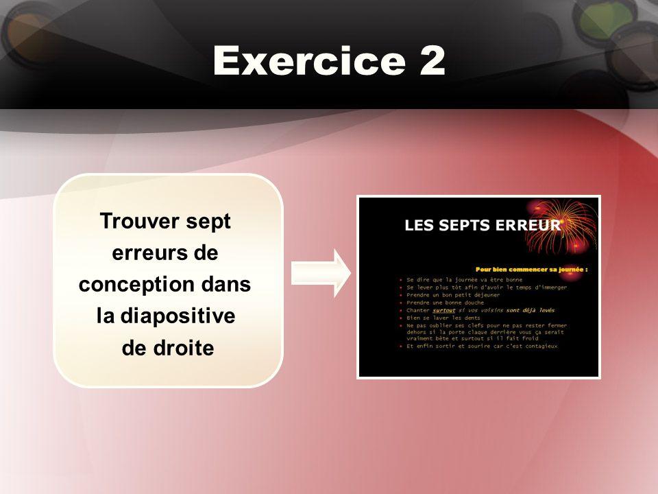 Exercice 2 Trouver sept erreurs de conception dans la diapositive de droite