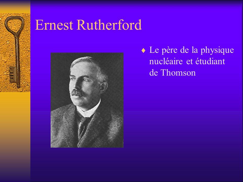 Ernest Rutherford Le père de la physique nucléaire et étudiant de Thomson