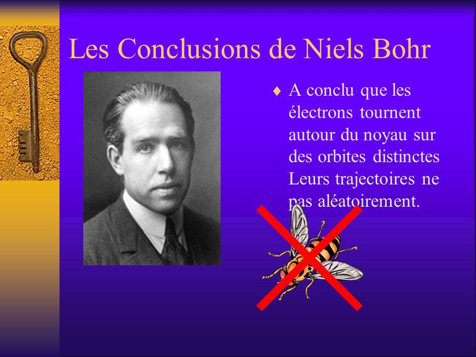 Les Conclusions de Niels Bohr A conclu que les électrons tournent autour du noyau sur des orbites distinctes Leurs trajectoires ne pas aléatoirement.