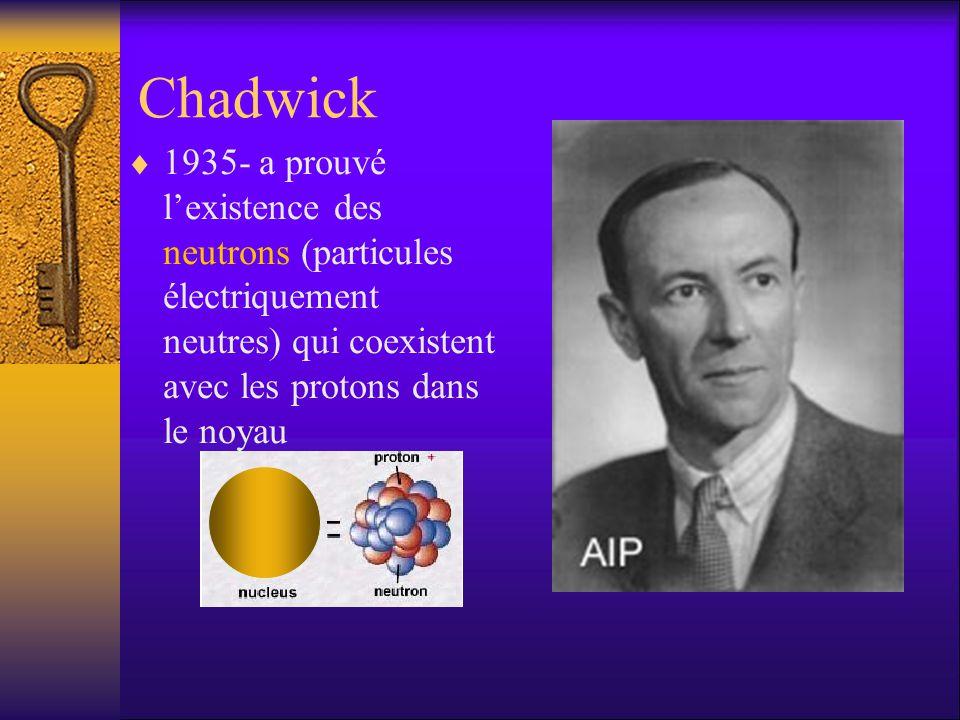 Chadwick 1935- a prouvé lexistence des neutrons (particules électriquement neutres) qui coexistent avec les protons dans le noyau