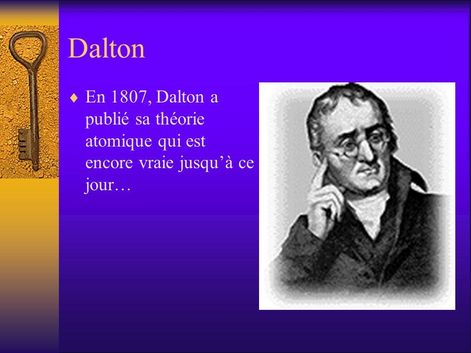 Dalton En 1807, Dalton a publié sa théorie atomique qui est encore vraie jusquà ce jour…