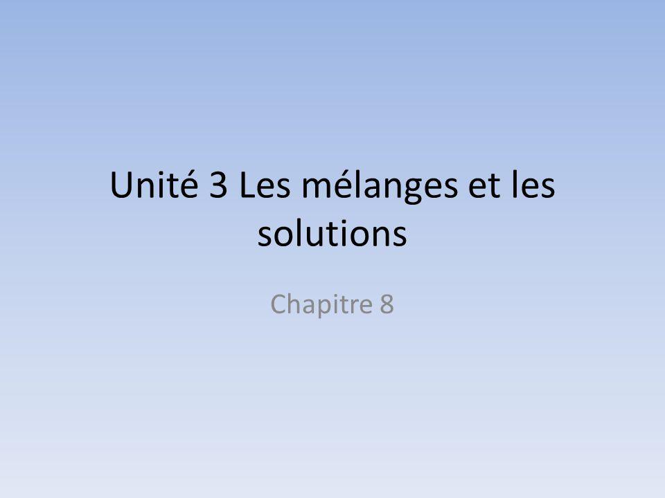 Unité 3 Les mélanges et les solutions Chapitre 8