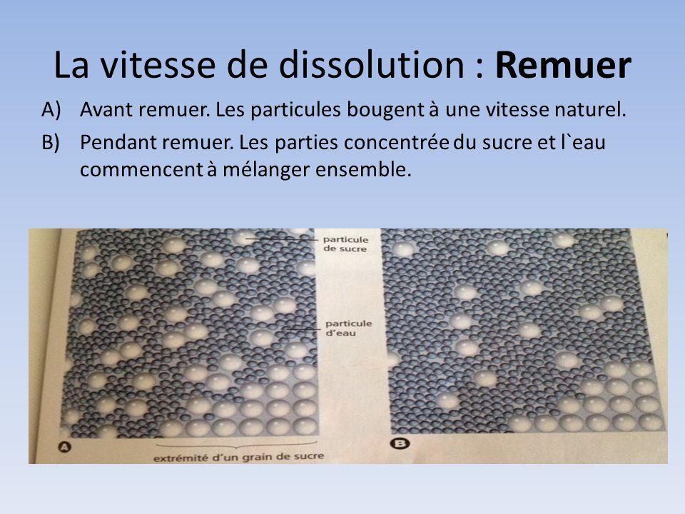 La vitesse de dissolution : Remuer A)Avant remuer. Les particules bougent à une vitesse naturel. B)Pendant remuer. Les parties concentrée du sucre et