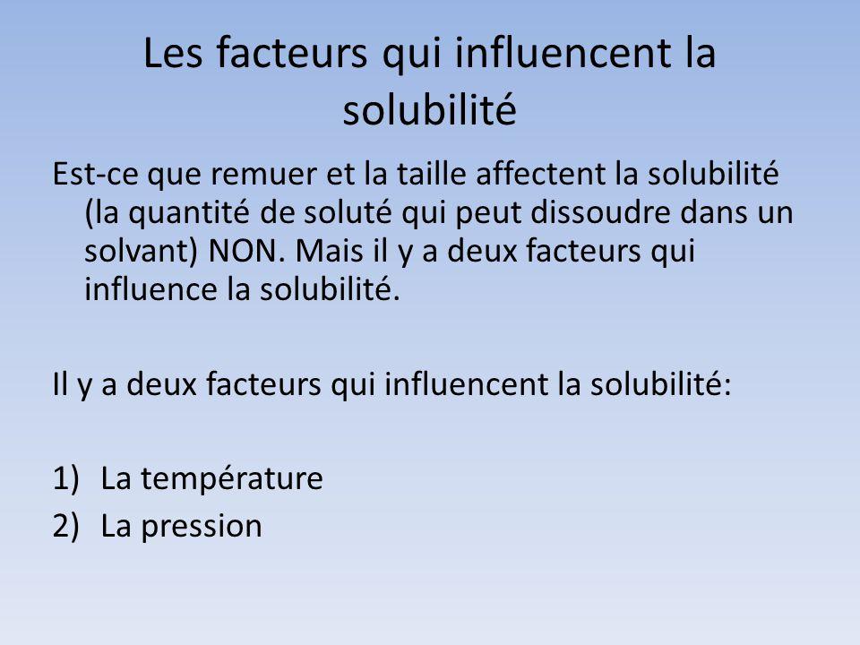 Les facteurs qui influencent la solubilité Est-ce que remuer et la taille affectent la solubilité (la quantité de soluté qui peut dissoudre dans un so