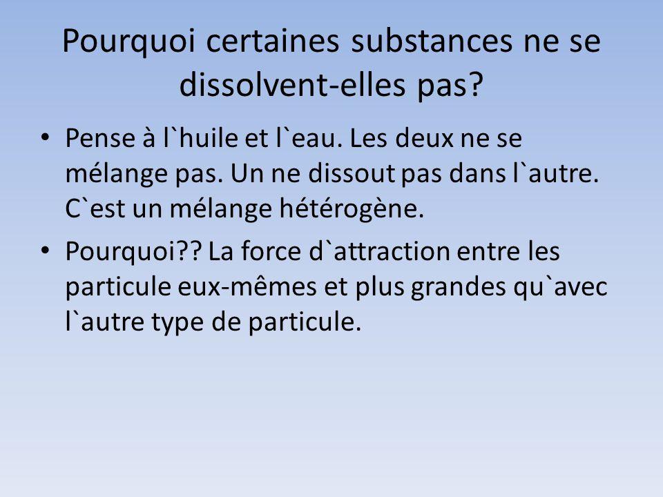 Pourquoi certaines substances ne se dissolvent-elles pas? Pense à l`huile et l`eau. Les deux ne se mélange pas. Un ne dissout pas dans l`autre. C`est