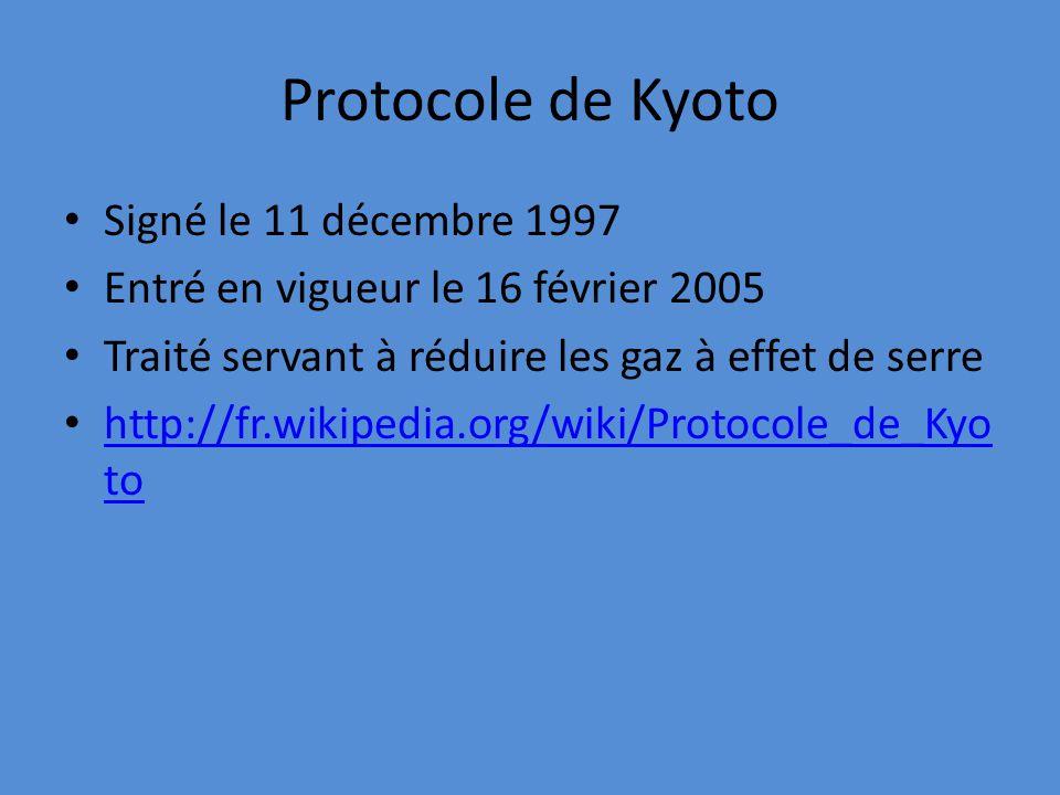 Protocole de Kyoto Signé le 11 décembre 1997 Entré en vigueur le 16 février 2005 Traité servant à réduire les gaz à effet de serre http://fr.wikipedia.org/wiki/Protocole_de_Kyo to http://fr.wikipedia.org/wiki/Protocole_de_Kyo to