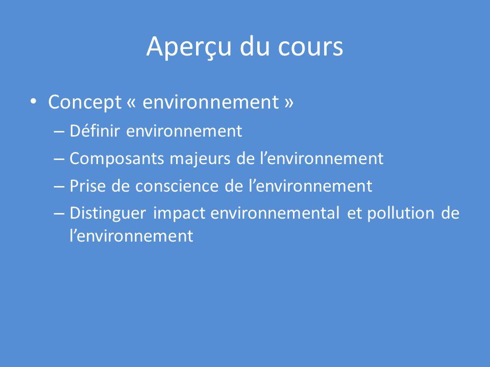 Aperçu du cours Concept « environnement » – Définir environnement – Composants majeurs de lenvironnement – Prise de conscience de lenvironnement – Distinguer impact environnemental et pollution de lenvironnement