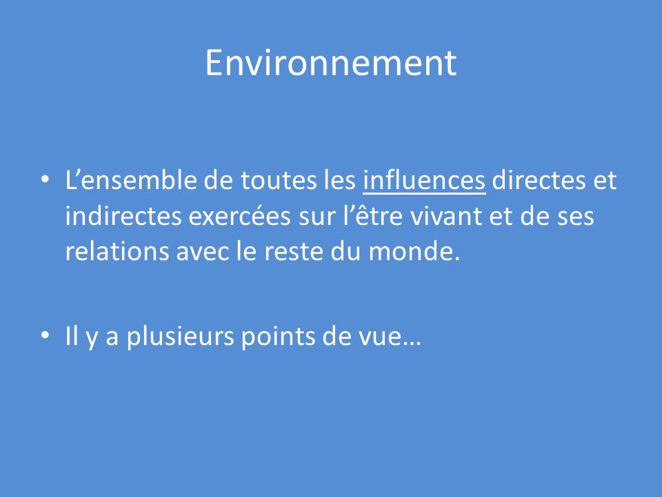 Environnement Lensemble de toutes les influences directes et indirectes exercées sur lêtre vivant et de ses relations avec le reste du monde.