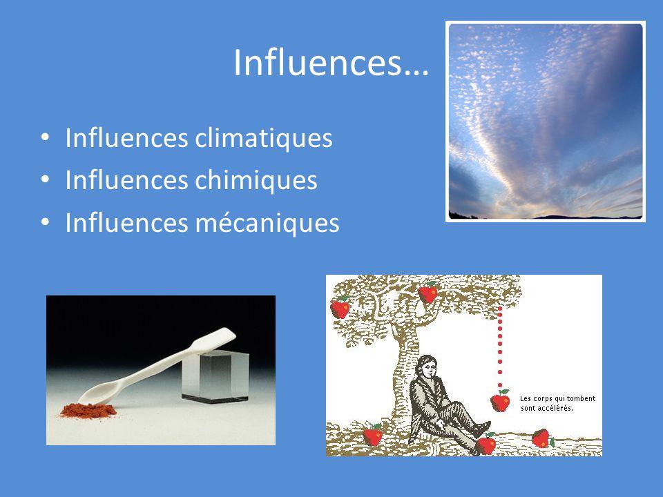 Influences… Influences climatiques Influences chimiques Influences mécaniques