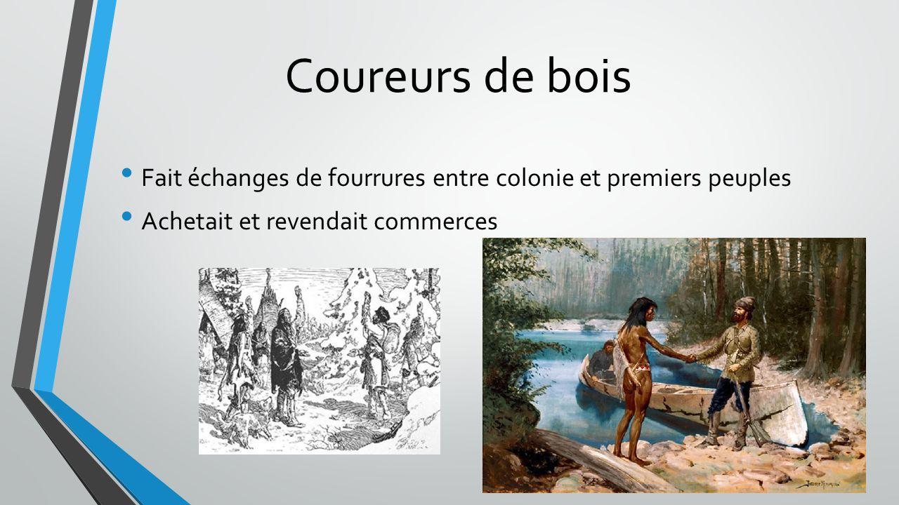 Coureurs de bois Fait échanges de fourrures entre colonie et premiers peuples Achetait et revendait commerces