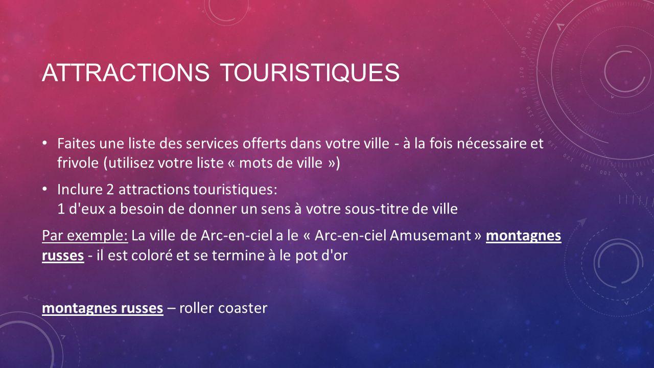ATTRACTIONS TOURISTIQUES Faites une liste des services offerts dans votre ville - à la fois nécessaire et frivole (utilisez votre liste « mots de vill