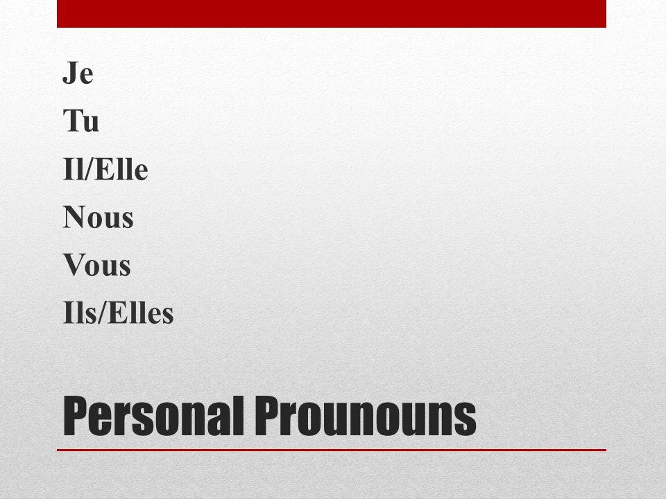 Personal Prounouns Je Tu Il/Elle Nous Vous Ils/Elles