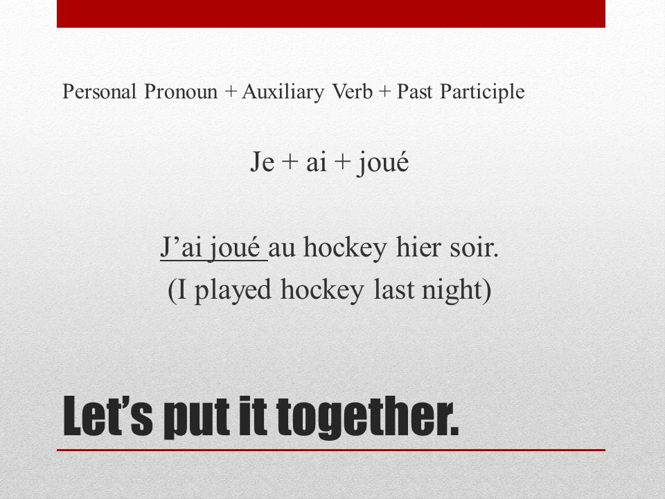 Lets practice.Personal Pronoun + Auxiliary Verb + Past Participle 1.