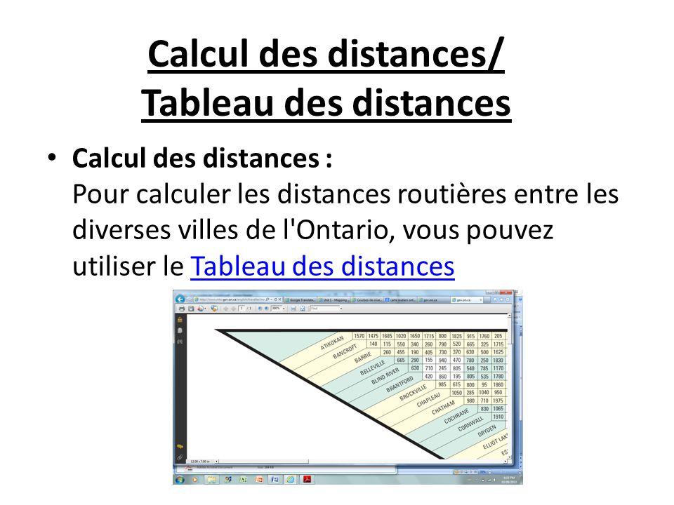 Calcul des distances : Pour calculer les distances routières entre les diverses villes de l Ontario, vous pouvez utiliser le Tableau des distancesTableau des distances Calcul des distances/ Tableau des distances