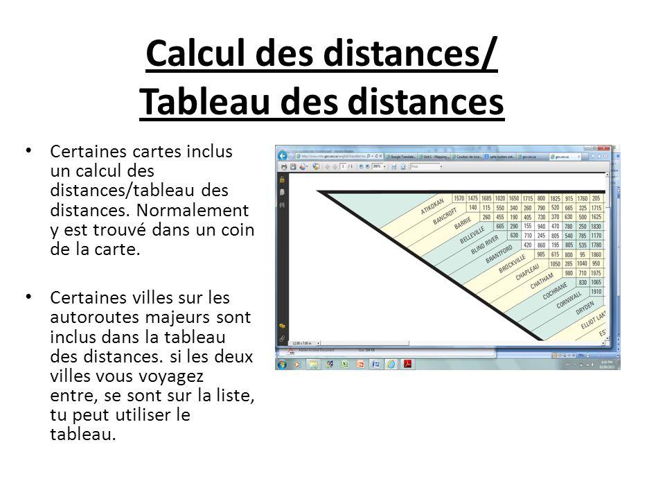 Certaines cartes inclus un calcul des distances/tableau des distances. Normalement y est trouvé dans un coin de la carte. Certaines villes sur les aut