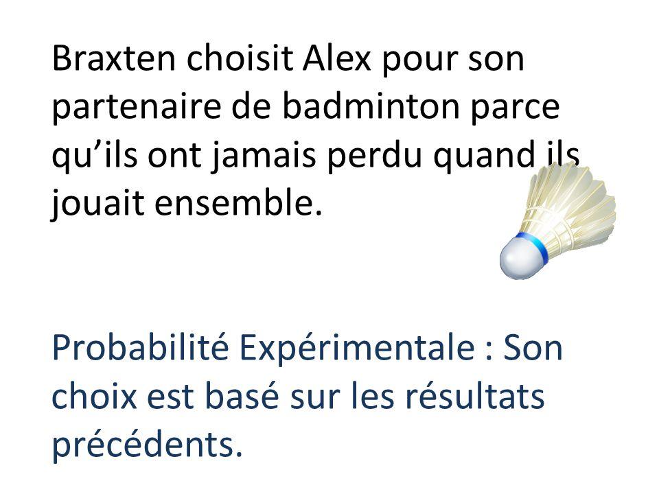 Braxten choisit Alex pour son partenaire de badminton parce quils ont jamais perdu quand ils jouait ensemble. Probabilité Expérimentale : Son choix es