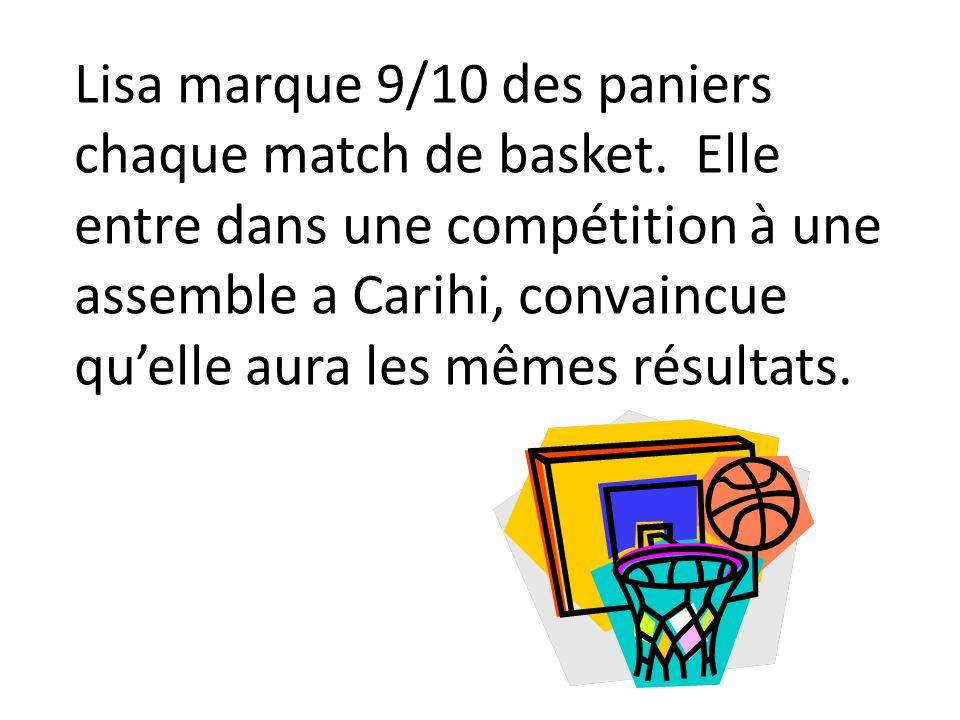 Lisa marque 9/10 des paniers chaque match de basket. Elle entre dans une compétition à une assemble a Carihi, convaincue quelle aura les mêmes résulta