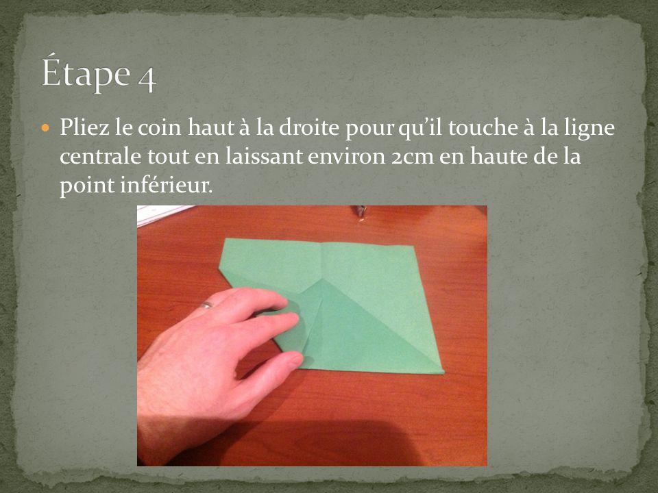 Pliez le coin haut à la droite pour quil touche à la ligne centrale tout en laissant environ 2cm en haute de la point inférieur.