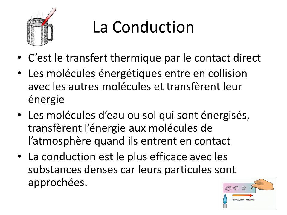 La Conduction Cest le transfert thermique par le contact direct Les molécules énergétiques entre en collision avec les autres molécules et transfèrent leur énergie Les molécules deau ou sol qui sont énergisés, transfèrent lénergie aux molécules de latmosphère quand ils entrent en contact La conduction est le plus efficace avec les substances denses car leurs particules sont approchées.