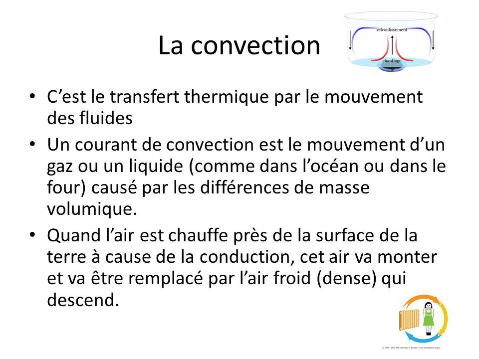 La convection Cest le transfert thermique par le mouvement des fluides Un courant de convection est le mouvement dun gaz ou un liquide (comme dans locéan ou dans le four) causé par les différences de masse volumique.