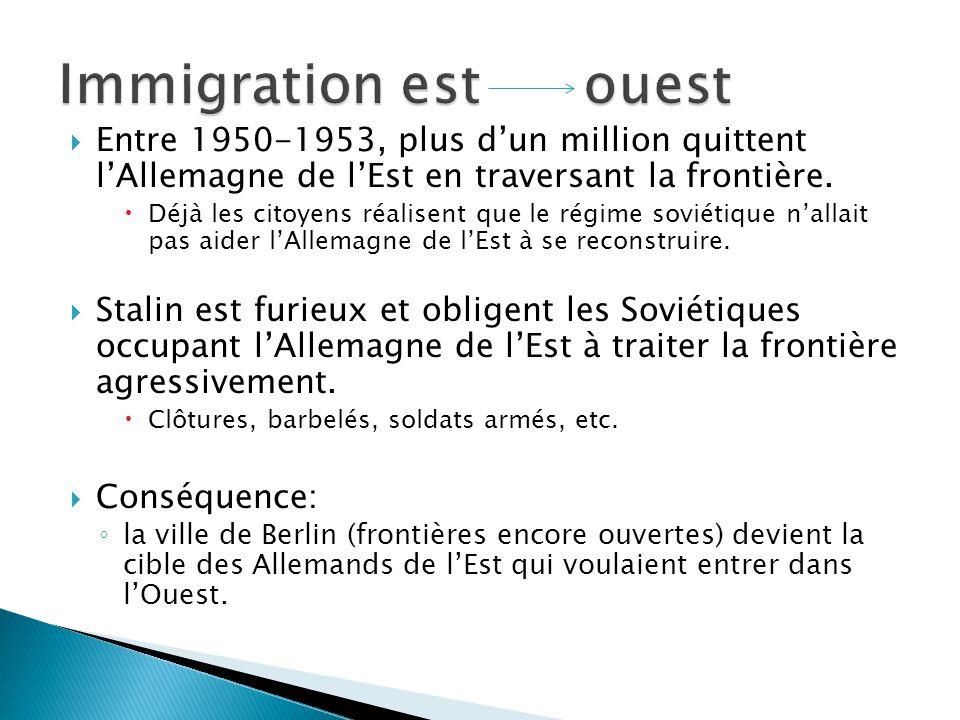 Entre 1950-1953, plus dun million quittent lAllemagne de lEst en traversant la frontière. Déjà les citoyens réalisent que le régime soviétique nallait