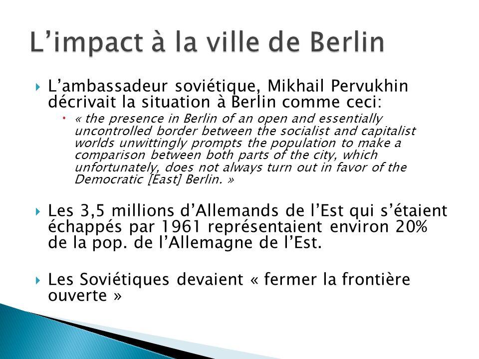 Il y existait 8 postes de frontière à Berlin pour permettre des visites: des citoyens de Berlin/Allemagne-Ouest; du personnel Allié; des citoyens des autres pays socialistes (sous contrôle de URSS).