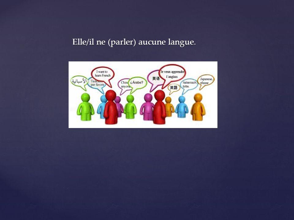 Elle/il ne (parler) aucune langue.