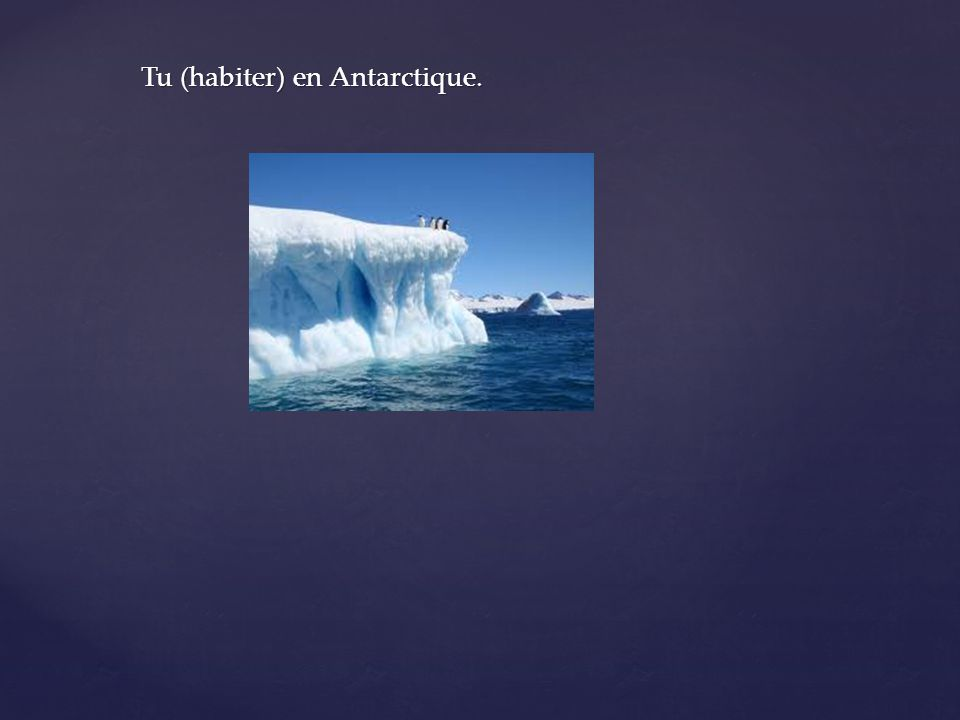 Tu (habiter) en Antarctique.