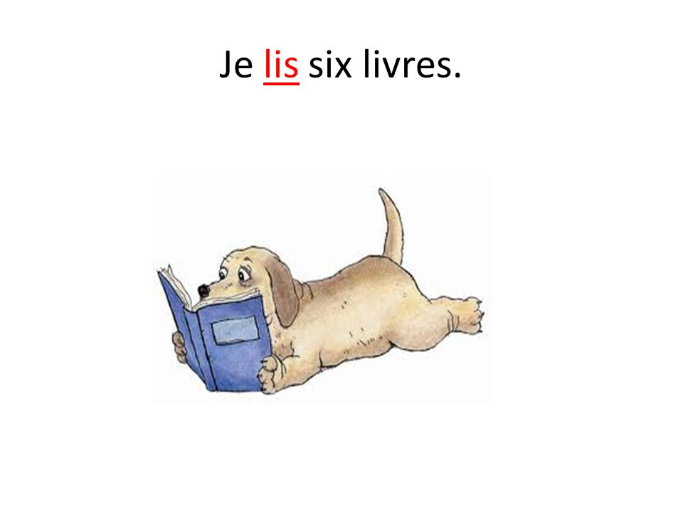 Je lis six livres.