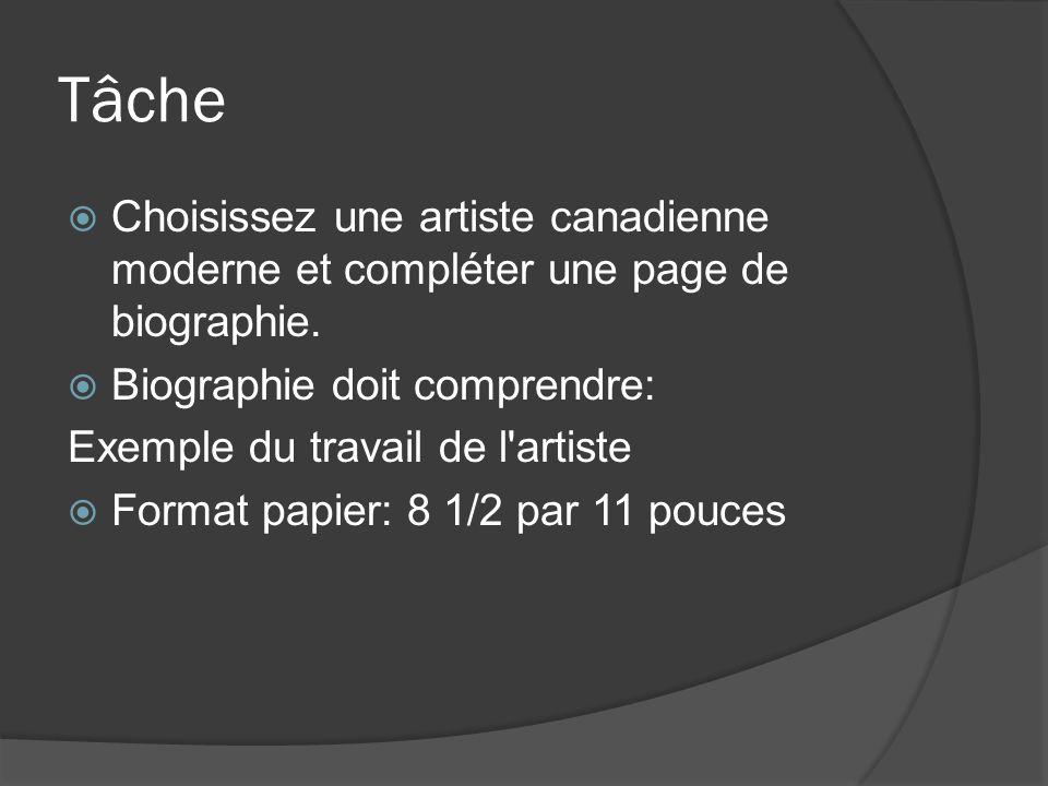 Tâche Choisissez une artiste canadienne moderne et compléter une page de biographie. Biographie doit comprendre: Exemple du travail de l'artiste Forma