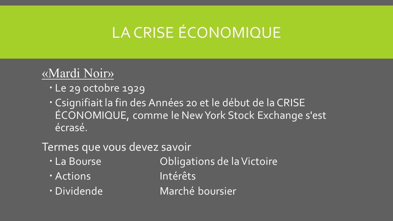 LA CRISE ÉCONOMIQUE «Mardi Noir» Le 29 octobre 1929 Csignifiait la fin des Années 20 et le début de la CRISE ÉCONOMIQUE, comme le New York Stock Exchange s est écrasé.