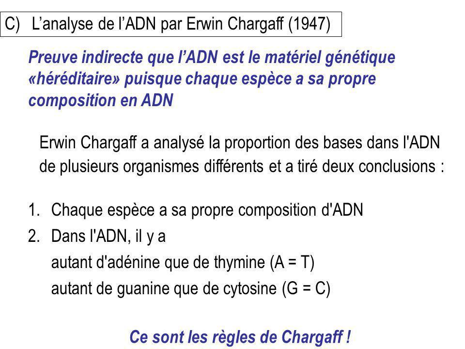 C) Lanalyse de lADN par Erwin Chargaff (1947) Erwin Chargaff a analysé la proportion des bases dans l'ADN de plusieurs organismes différents et a tiré