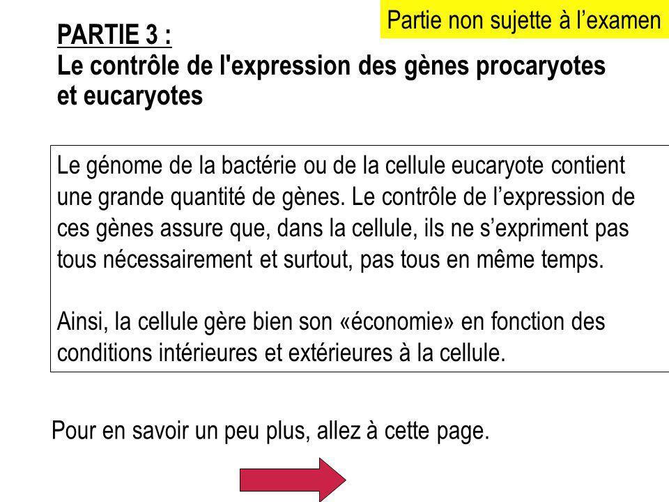 PARTIE 3 : Le contrôle de l'expression des gènes procaryotes et eucaryotes Le génome de la bactérie ou de la cellule eucaryote contient une grande qua