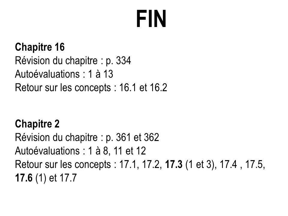FIN Chapitre 16 Révision du chapitre : p. 334 Autoévaluations : 1 à 13 Retour sur les concepts : 16.1 et 16.2 Chapitre 2 Révision du chapitre : p. 361