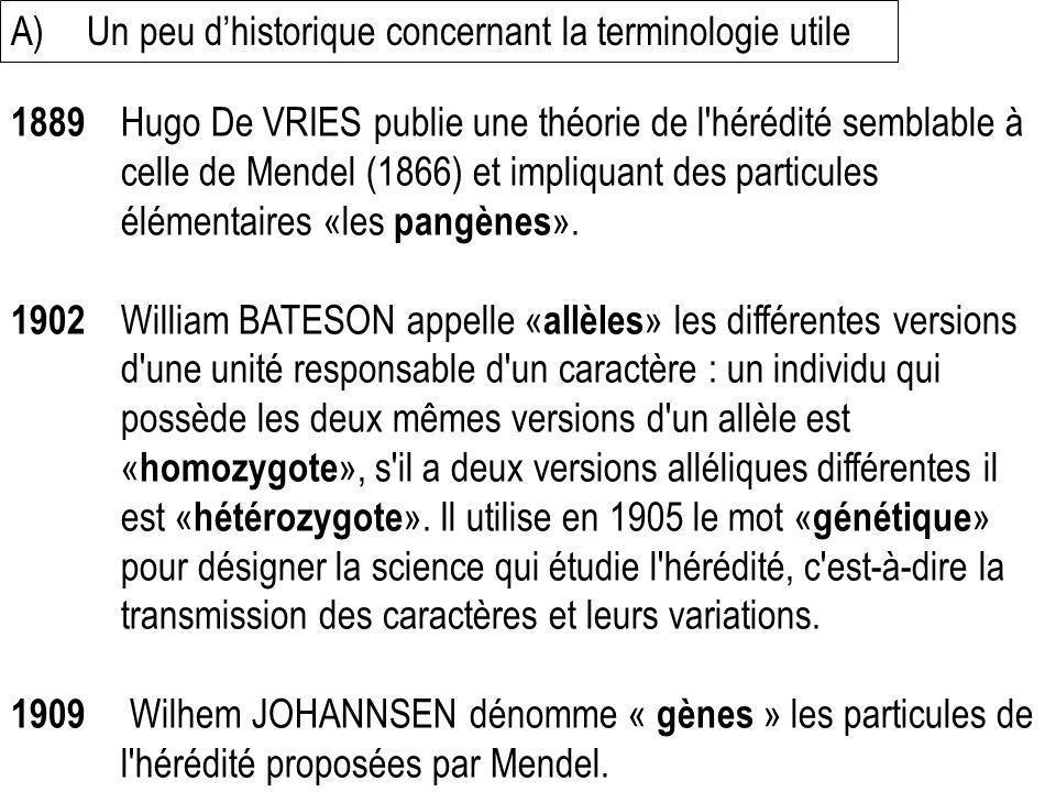 1889 Hugo De VRIES publie une théorie de l'hérédité semblable à celle de Mendel (1866) et impliquant des particules élémentaires «les pangènes ». 1902