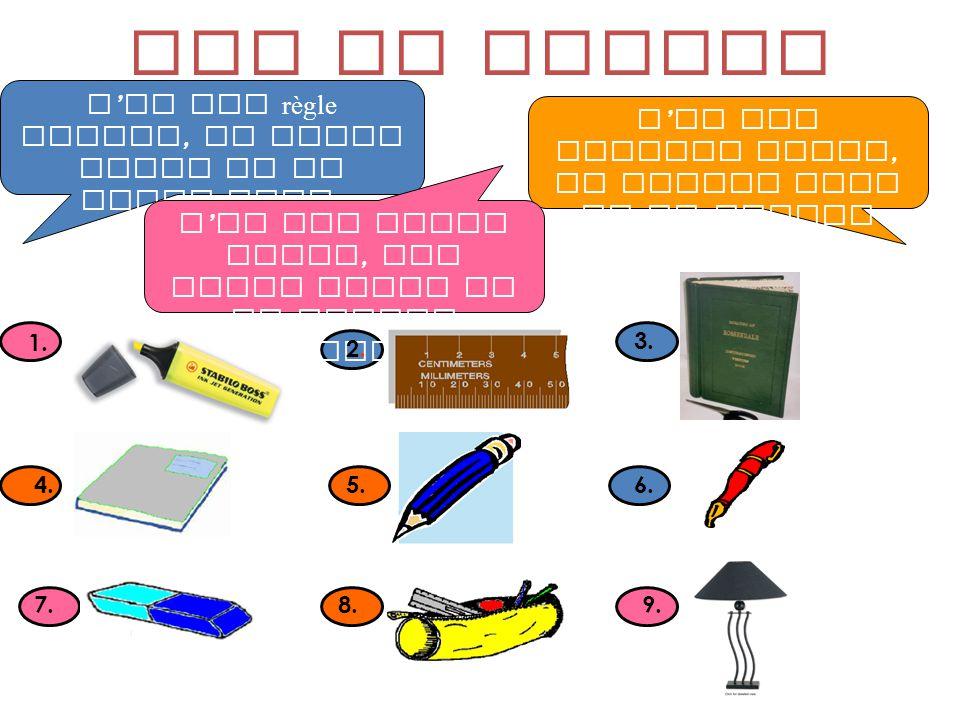 Cest un sac vert. Cest un stylo noir. Cest une trousse rouge. Cest un portable rose. Cest une règle jaune.