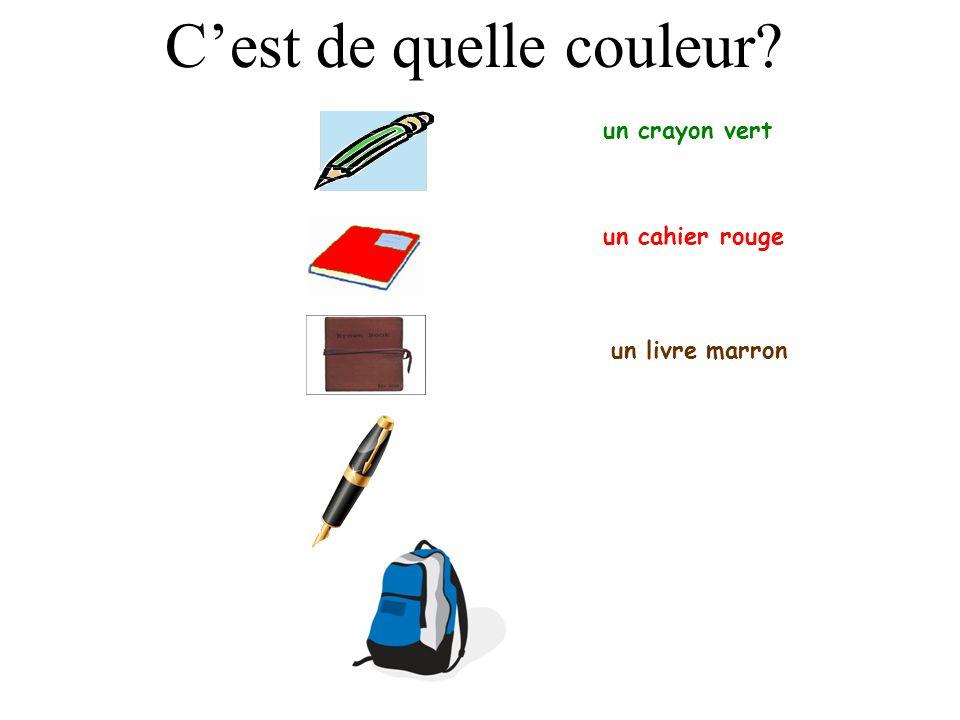un crayon vert un cahier rouge Cest de quelle couleur?