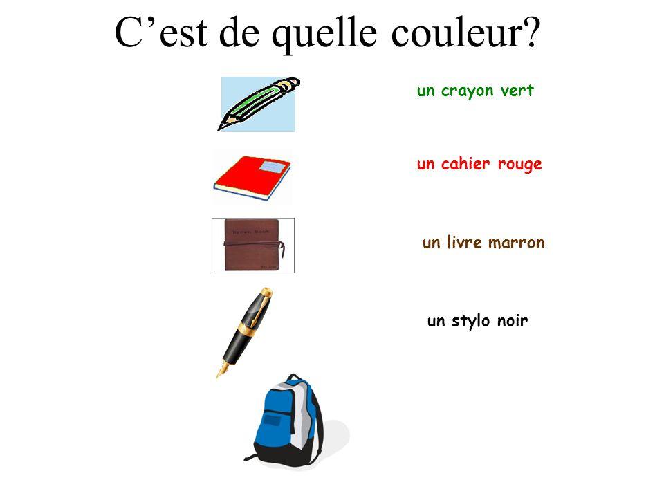 un crayon vert un cahier rouge un livre marron Cest de quelle couleur?