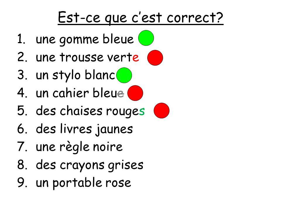 Est-ce que cest correct? 1.une gomme bleue 2.une trousse verte 3.un stylo blanc 4.un cahier bleue 5.des chaises rouge 6.des livres jaunes 7.une règle