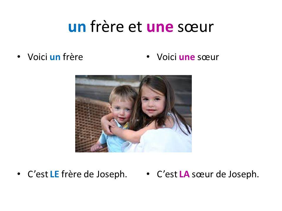 un frère et une sœur Voici un frère Cest LE frère de Joseph. Voici une sœur Cest LA sœur de Joseph.