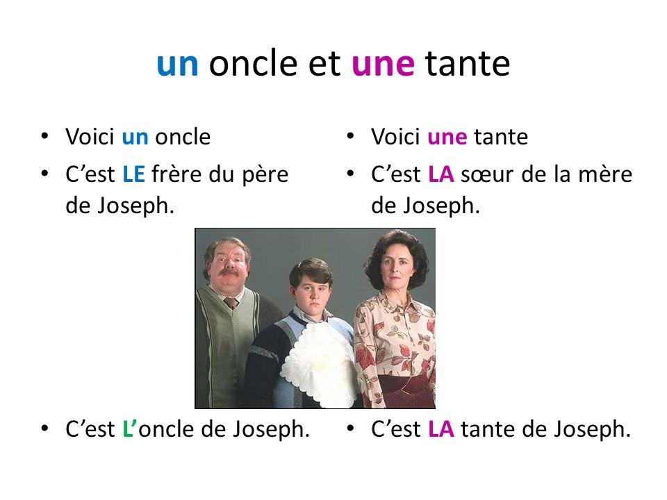 un oncle et une tante Voici un oncle Cest LE frère du père de Joseph. Cest Loncle de Joseph. Voici une tante Cest LA sœur de la mère de Joseph. Cest L
