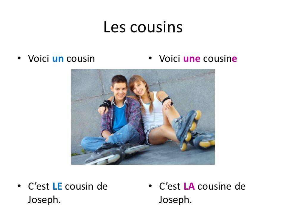 Les cousins Voici un cousin Cest LE cousin de Joseph. Voici une cousine Cest LA cousine de Joseph.