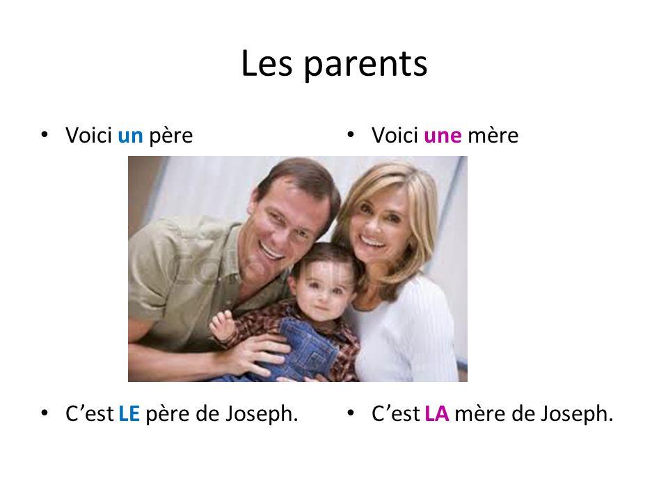 Les parents Voici un père Cest LE père de Joseph. Voici une mère Cest LA mère de Joseph.