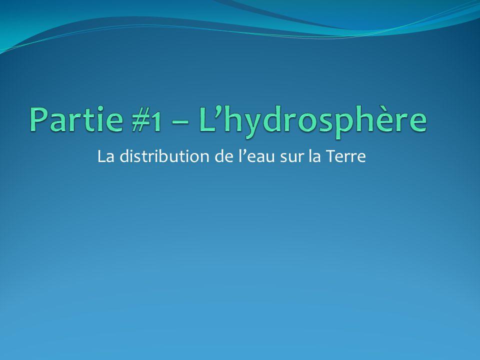 Lhydrosphère Lhydrosphère est formée de toutes les étendues deau qui recouvrent la surface de la Terre.