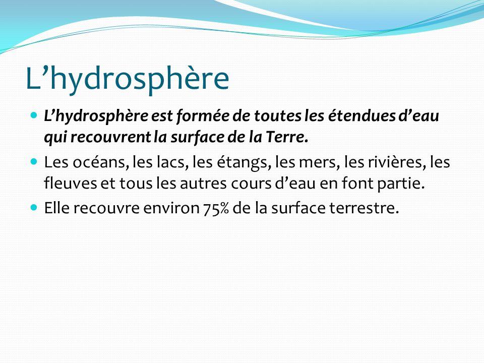 Lhydrosphère Lhydrosphère est formée de toutes les étendues deau qui recouvrent la surface de la Terre. Les océans, les lacs, les étangs, les mers, le