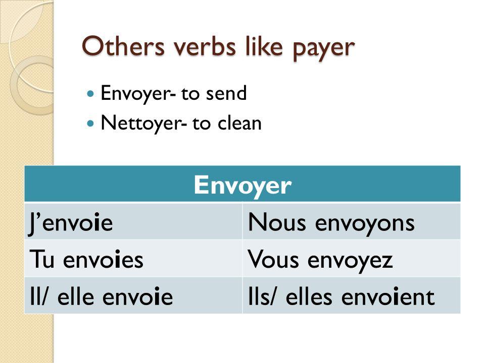 Others verbs like payer Envoyer- to send Nettoyer- to clean Envoyer JenvoieNous envoyons Tu envoiesVous envoyez Il/ elle envoieIls/ elles envoient